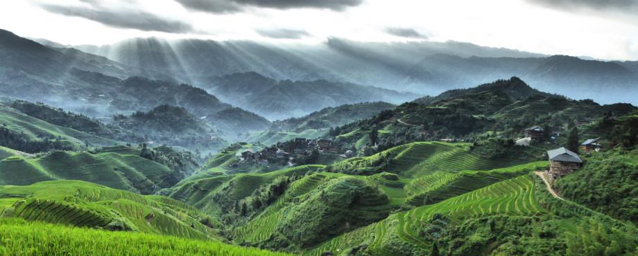 rizières en terrasses de Longji près de Tiantouzhai